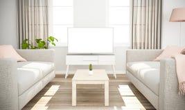 weißes Fernsehen auf skandinavischem minimalem Innenraum lizenzfreie stockfotografie