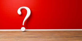 Weißes Fragezeichen an roter konkreter Schmutz Wand Stockbilder