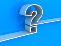 Weißes Fragezeichenregal auf blauem Hintergrund Stockbild