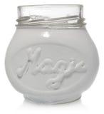 Weißes Glas handgemalt mit der Wortmagie Stockfotos