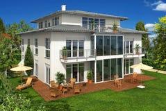 Weißes Glashaus im Garten vektor abbildung