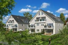 Weißes Glashaus im Garten stock abbildung