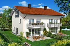 Weißes Glashaus im Garten lizenzfreie abbildung