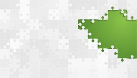 Weißes Grey Puzzles Pieces - Vektor-grüne Laubsäge Lizenzfreie Stockbilder