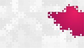 Weißes Grey Puzzles Pieces - Vektor-rosa Laubsäge Lizenzfreies Stockfoto