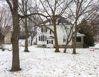 Weißes Gutshaus mit Bäumen Stockbild