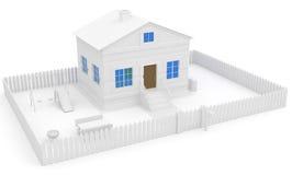 Weißes Haus mit blauem Fenster und Garten Stockfotografie