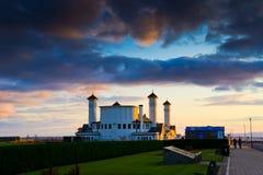 Weißes Haus von Ayr am Sonnenuntergang Lizenzfreie Stockfotos