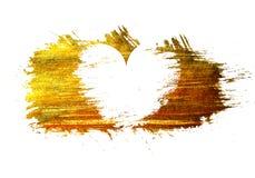 Weißes Herz auf einem Goldfleckhintergrund Stockfotos