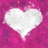 Weißes Herz auf Rosa Stockbild