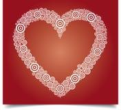 Weißes Herz auf Rot Stockfotografie