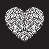 Weißes Herz gemacht von den runden Kreisen Auch im corel abgehobenen Betrag Lizenzfreies Stockfoto