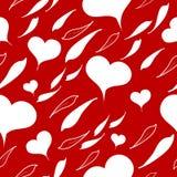 Weißes Herz mit Blättern auf einer roten Farbe lizenzfreie abbildung