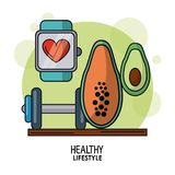Weißes Hintergrundplakat des gesunden Lebensstils mit Uhrpulsierenüberwachung und Dummkopf und Papaya und Avocado Stockbilder