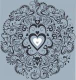 Weißes Inneres der Weinlese im dekorativen Flourishkreis Stockfoto
