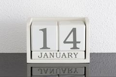 Weißes Kalenderblockgeschenkdatum 14 und Monat Januar Stockbild