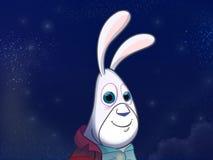 Weißes Kaninchen in der roten Jacke Lizenzfreies Stockbild