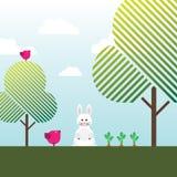 Weißes Kaninchen, Karotten, Vögel und Bäume Stockbilder