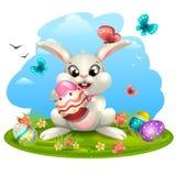 Weißes Kaninchen mit Eiern vektor abbildung