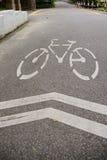 Weißes Kennzeichen des Fahrrades und des weißen Pfeiles, die eine Möglichkeit auf Asphaltweg zeigen Stockbild