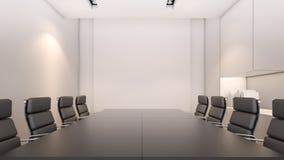 Weißes Konferenzzimmer und Wiedergabe Konferenztisch/3D Stockfotos