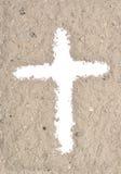 Weißes Kreuz in der Asche Stockfotos