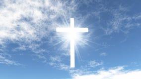 Weißes Kreuz im Himmel lizenzfreie stockfotos