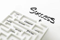 Weißes Labyrinth und komplexer Schritt des Erfolgs Stockbilder
