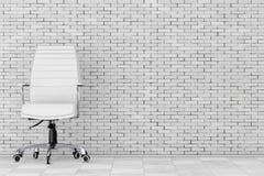Weißes Leder-Chef Office Chair Wiedergabe 3d Lizenzfreie Stockbilder