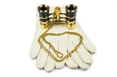 Weißes Leder womans Handschuhe Stockbild