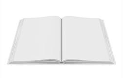 Weißes leeres offenes Buch auf weißem Hintergrund Stockfotografie