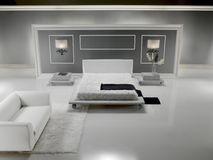 Weißes luxuriöses Schlafzimmer Stockfotos