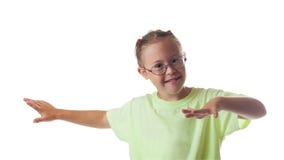 Weißes Mädchen des Kastenporträts mit tragenden Gläsern des blonden Haares Lizenzfreies Stockbild