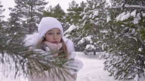 Weißes Mädchen ist kalt und klatscht ihre Hände während Schneefälle im Winterwald stock video