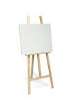 Weißes Malersegeltuch auf dem hölzernen Gestell lokalisiert lizenzfreie stockfotografie