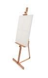 Weißes Malersegeltuch auf dem hölzernen Gestell lokalisiert stockfotografie