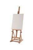 Weißes Malersegeltuch auf dem hölzernen Gestell lokalisiert auf Weiß stockbild