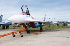 Weißes Militärflugzeug MIG Stockbilder