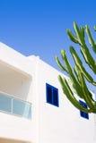 Weißes Mittelmeerkaktushaus in Formentera Stockfotografie