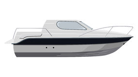 Weißes Motorboot Stockbild