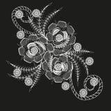 Weißes Muster oder Tätowierung mit drei Blumen Stockbild