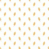 Weißes nahtloses Muster mit hellorangeen Eichen-Blättern stockbild