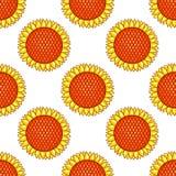 Weißes nahtloses Muster mit Sonnenblumen Stockbild