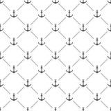 Weißes nahtloses Muster mit Vektorankern Lizenzfreie Stockfotos