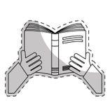 Weißes Notizbuch offen in der Handikone vektor abbildung