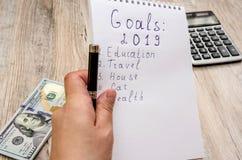 Weißes Notizbuch und Stift, Taschenrechner und Dollar Nahaufnahme auf hölzernem Hintergrund lizenzfreie stockbilder