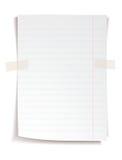 Weißes Notizbuchpapier mit Linien Stockbild