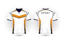 Weißes, orange und schwarzes Planfußball-Sportt-shirt, Ausrüstungen, Trikot, Hemddesignschablone stock abbildung