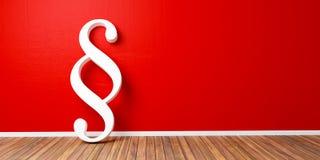 Weißes Paragraph smybol gegen eine rote Wand - Gesetzes- und Gerechtigkeitskonzeptbild - Wiedergabe 3D Stockfoto