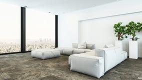 Weißes Penthauswohnzimmer des Plüschs mit Stadtansicht stockfoto